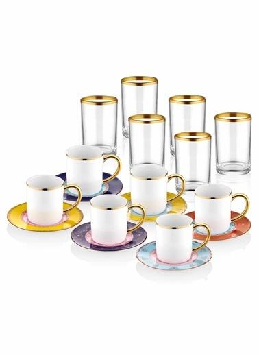 The Mia Bugle Kahve & Kahve Yanısu Bardağı - 6 Kişilik Renkli